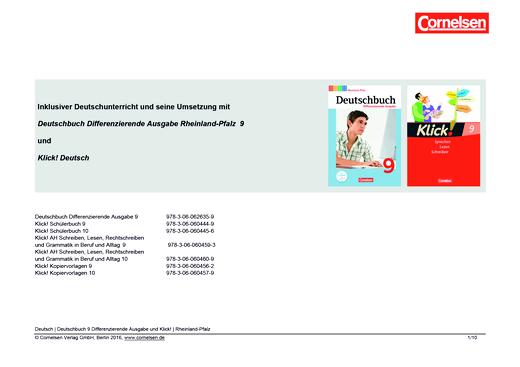 Klick! Deutsch - Inklusiver Unterricht mit dem Deutschbuch Differenzierende Ausgabe Rheinland-Pfalz und Klick! Deutsch in Klasse 9 - Synopse - 9. Schuljahr
