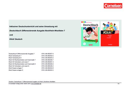 Klick! Deutsch - Inklusiver Unterricht mit dem Deutschbuch und Klick! Deutsch - Synopse - 7. Schuljahr