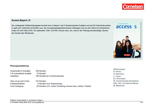Access - Planungshilfe zur Erstellung eines schulinternen Curriculums - Stoffverteilungsplan - 5. Jahrgangsstufe