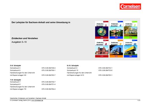 Entdecken und verstehen - Planungshilfe - 5.-10. Schuljahr