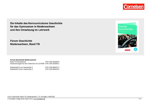 Forum Geschichte - Neue Ausgabe - Planungshilfe - 7./8. Schuljahr