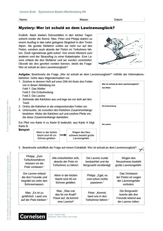 """Unsere Erde - """"Mystery: Wer ist schuld an dem Lawinenunglück?"""" - Kopiervorlagen - 5./6. Schuljahr"""