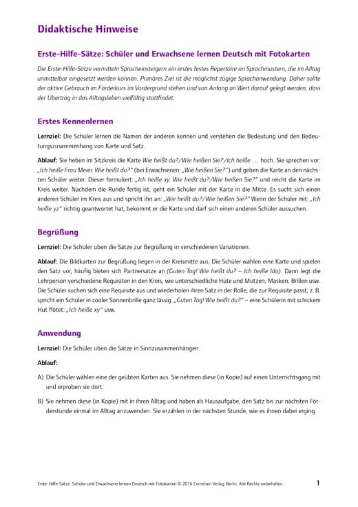 Deutsch lernen mit Fotokarten - Sekundarstufe I/II und Erwachsene - Didaktische Hinweise SEK Erste-Hilfe-Sätze - Didaktische Fachinfo