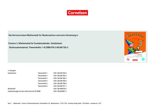 Einstern - Verbrauchsmaterial - Synopse - Band 3