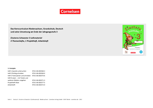 Einsterns Schwester - Einsterns Schwester 3 Ausleihmaterial – Synopse zum neuen Kerncurriculum für Niedersachsen - Synopse - 3. Schuljahr