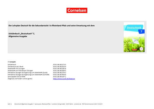 Deutschzeit - Synopse für das Gymnasium Rheinland-Pfalz - 7. Schuljahr