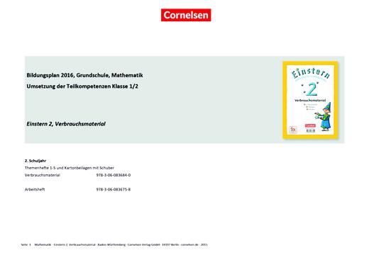 Einstern - Einstern 2 Verbrauchsmaterial – Synopse zum Bildungsplan Baden-Württemberg - Synopse - Band 2
