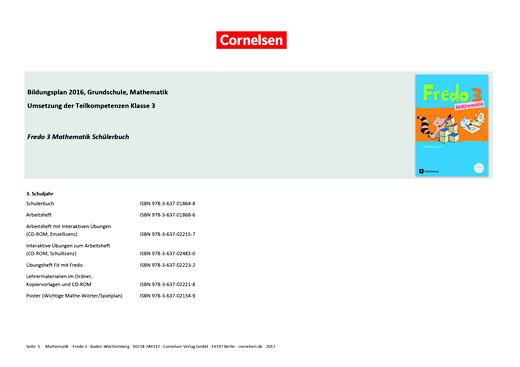 Fredo - Mathematik - Fredo 3 – Synopse zum Bildungsplan Baden-Württemberg - Synopse - 3. Schuljahr