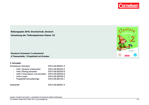 Einsterns Schwester - Synopse zum Bildungsplan Baden-Württembergnopse (Ausleihmaterial) - 2. Schuljahr