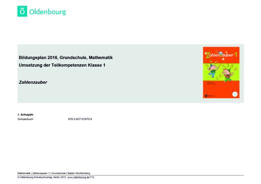 Zahlenzauber - Zahlenzauber 1 – Synopse zum Bildungsplan Baden-Württemberg - Synopse - 1. Schuljahr