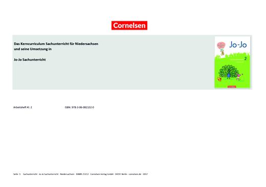 Jo-Jo Sachunterricht - Jo-Jo Sachunterricht 2 – Synopse zum neuen Kerncurriculum für Niedersachsen - Synopse - 2. Schuljahr