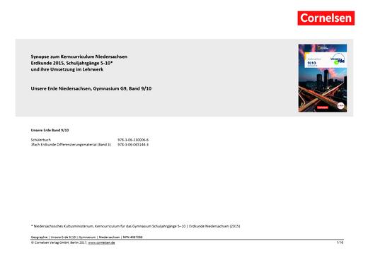 Unsere Erde - Unsere Erde Niedersachsen Band 9/10: Planungshilfe schuleigenes Curriculum - Synopse - 9./10. Schuljahr