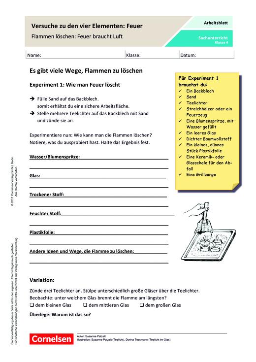 Versuche zu den vier Elementen: Feuer - Arbeitsblatt