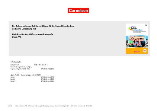 Politik entdecken - Synopse für Politik entdecken, Differenzierende Ausgabe für Berlin/Brandenburg zum Rahmenlehrplan Politische Bildung - Synopse - 7./8. Schuljahr