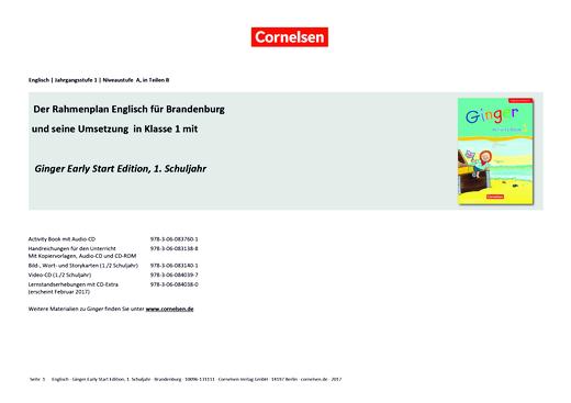 Ginger - Stoffverteilungsplan für Berlin/Brandenburg - 1. Schuljahr