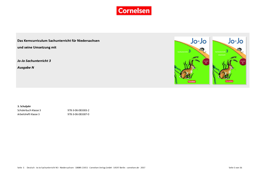 Jo-Jo Sachunterricht - Jo-Jo Sachunterricht 3 (Ausgabe N) – Synopse zum neuen Kerncurriculum für Niedersachsen - Synopse - 3. Schuljahr