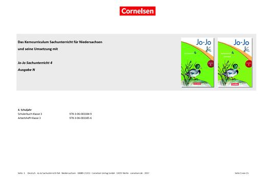 Jo-Jo Sachunterricht - Jo-Jo Sachunterricht 4 (Ausgabe N) – Synopse zum neuen Kerncurriculum für Niedersachsen - Synopse - 4. Schuljahr