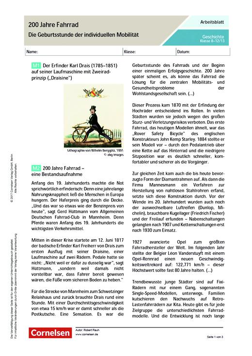 200 Jahre Fahrrad – die Geburtsstunde der individuellen Mobilität - Arbeitsblatt - Webshop-Download