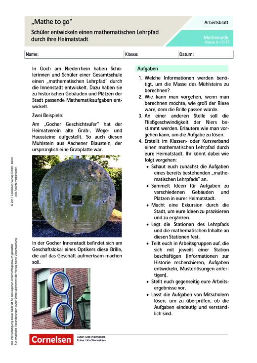 """""""Mathe to go"""" – Schüler entwickeln einen mathematischen Lehrpfad durch ihre Heimatstadt - Arbeitsblatt - Webshop-Download"""