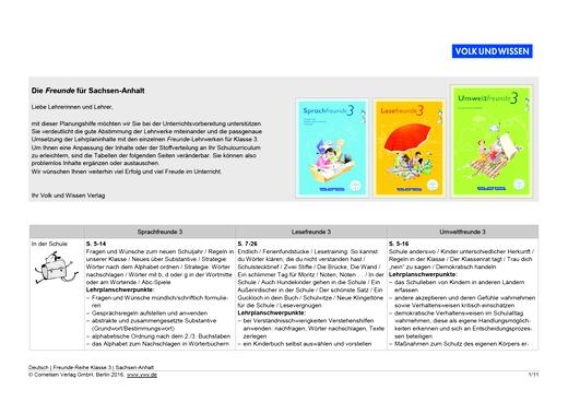 Umweltfreunde - Planungshilfe Sprach-, Lese- und Umweltfreunde 3 Sachsen-Anhalt - Planungshilfe - 3. Schuljahr