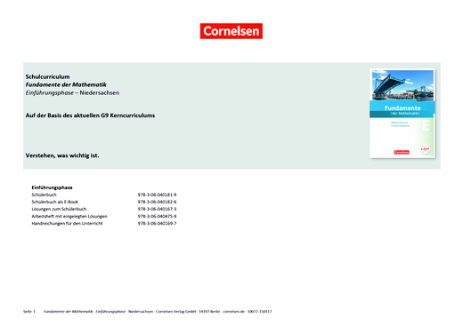 Fundamente der Mathematik - Schulcurriculum für die Einführungsphase Fundamente der Mathematik Niedersachsen - Synopse - Einführungsphase