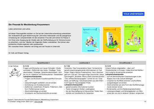 Umweltfreunde - Sprach-, Lese- und Umweltfreunde 4 - Planungshilfe für Mecklenburg-Vorpommern - 4. Schuljahr