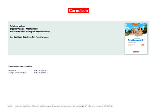 Bigalke/Köhler: Mathematik - Schulcurriculum - Grundkurs 2. Halbjahr