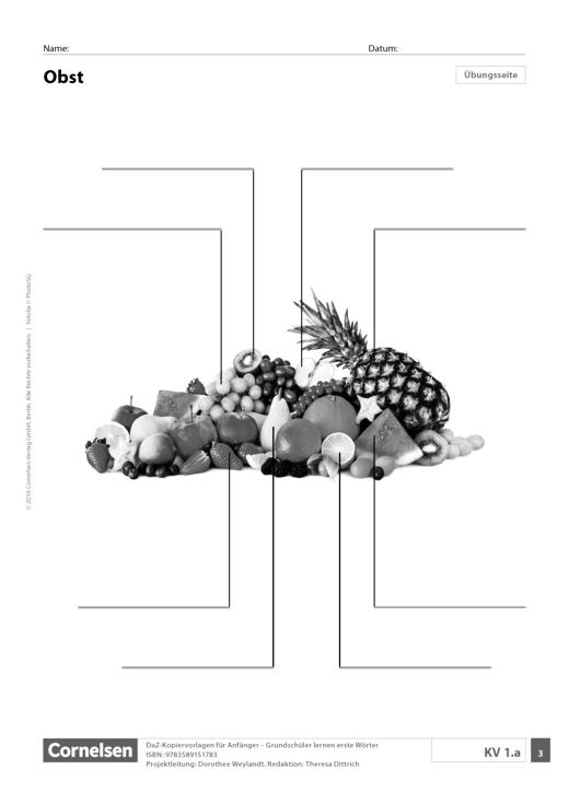 DaZ: Obst (Grundschule) - Arbeitsblatt