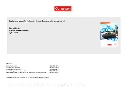 Context Starter - Planungshilfe für Context Starter in Niedersachsen - Synopse