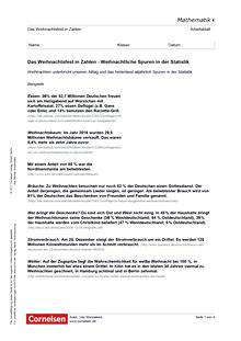 Das Weihnachtsfest in Zahlen - Weihnachtliche Spuren in der Statistik - Arbeitsblatt