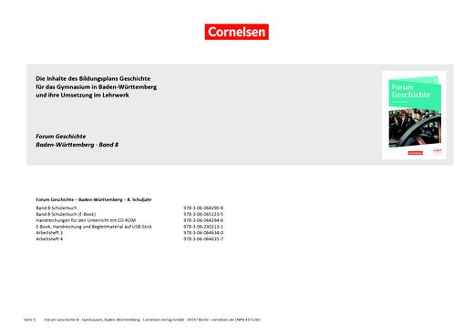 Forum Geschichte - Neue Ausgabe - Planungshilfe für einen Stoffverteilungsplan - 8. Schuljahr