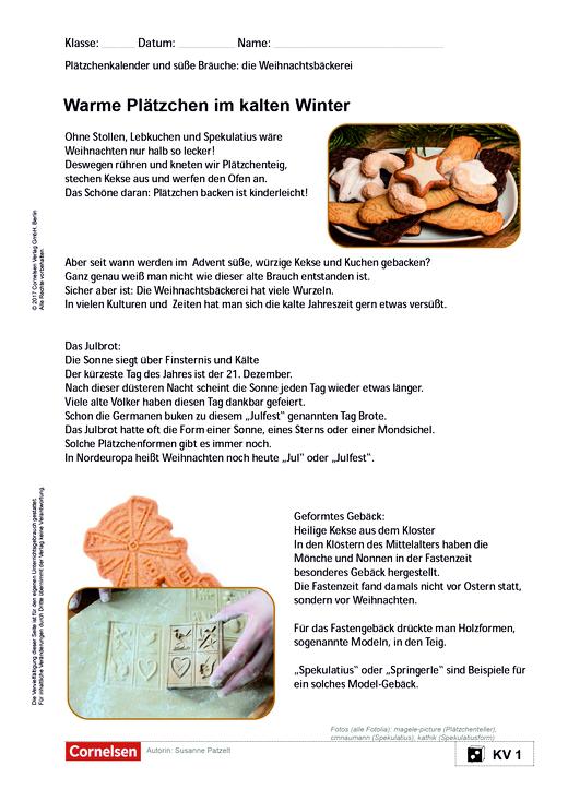 Warme Plätzchen im kalten Winter - Weihnachtsbäckerei - Arbeitsblatt