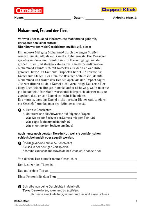 Textverständnis und Textproduktion: Mohammed, Freund der Tiere - Arbeitsblatt - Webshop-Download
