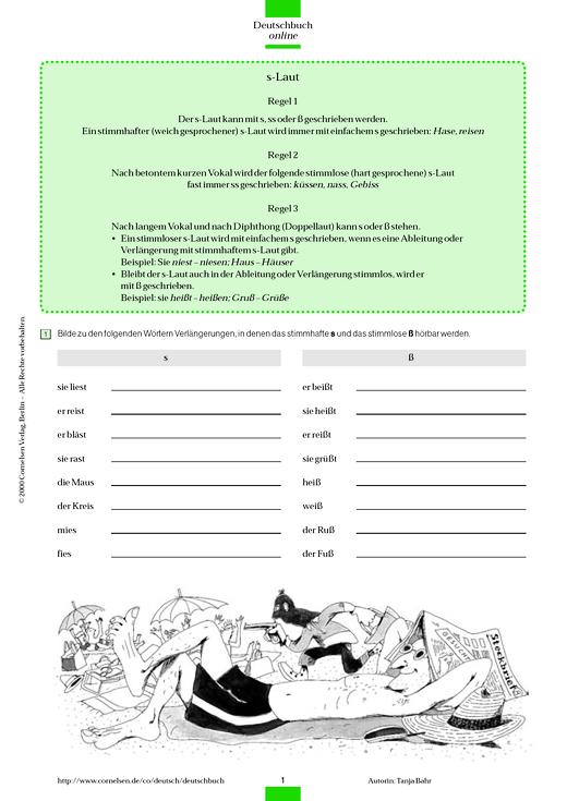 Rechtschreibübung: s-Laute - Arbeitsblatt - Webshop-Download
