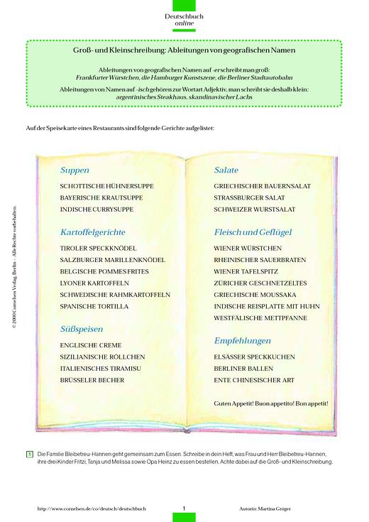 Groß- und Kleinschreibung: Herkunftsbezeichnungen - Arbeitsblatt - Webshop-Download