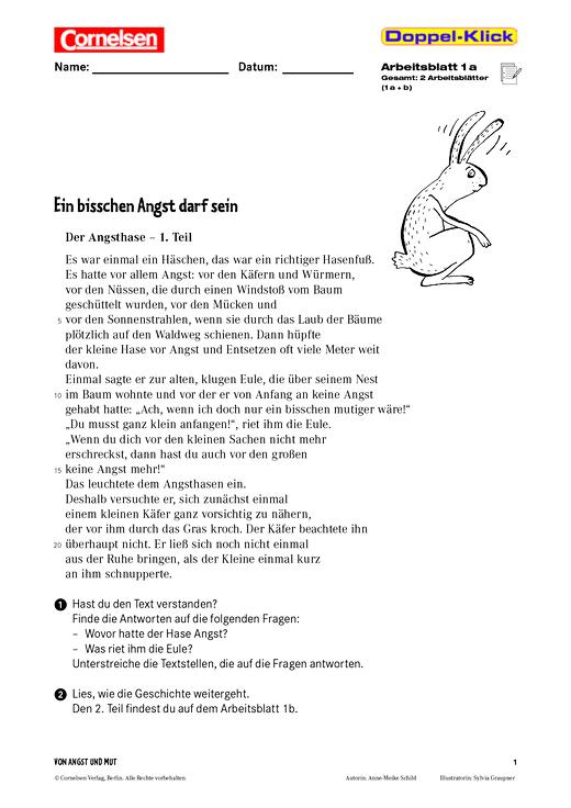 Leseübung Und Textverständnis Ein Bisschen Angst Darf Sein Arbeitsblatt Webshop Download