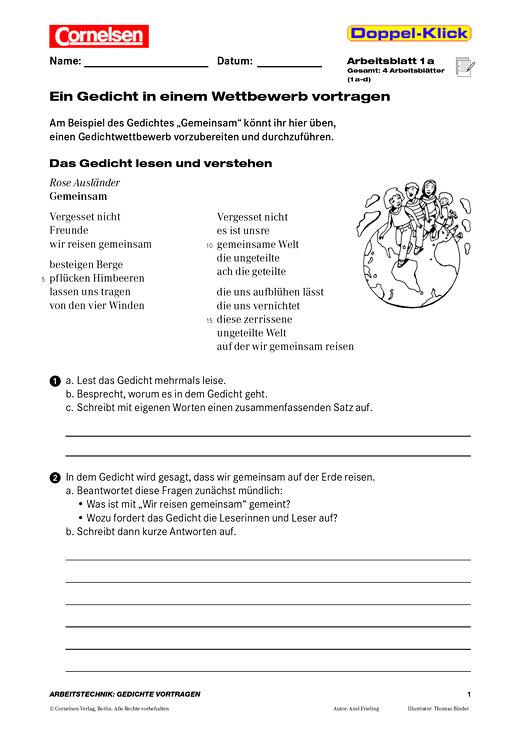 Lese- und Vortragsübung: Ein Gedicht in einem Wettbewerb vortragen - Arbeitsblatt - Webshop-Download