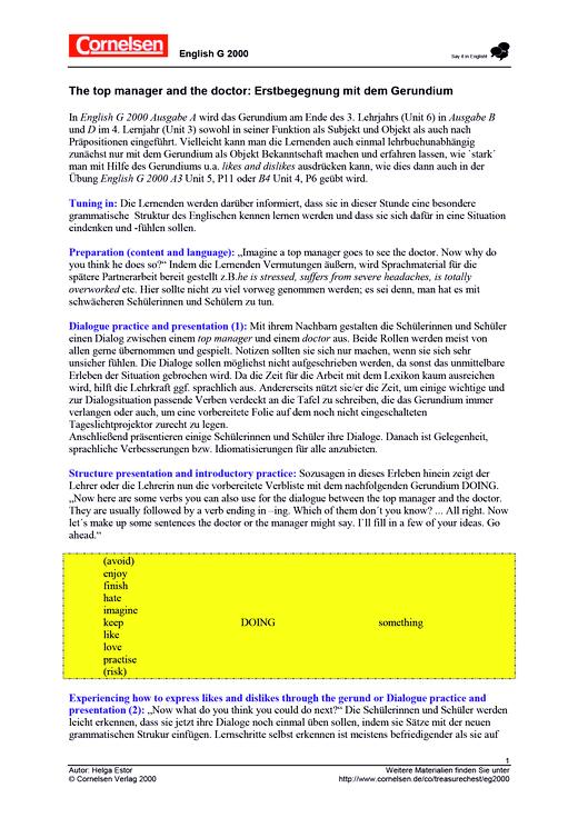 Erlebnisgrammatik: The top manager and the doctor - Arbeitsblatt - Webshop-Download