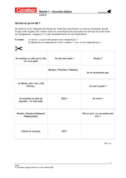 Réalités 1, Unité 8: Qu'est-ce qu'on dit? - Arbeitsblatt - Webshop-Download
