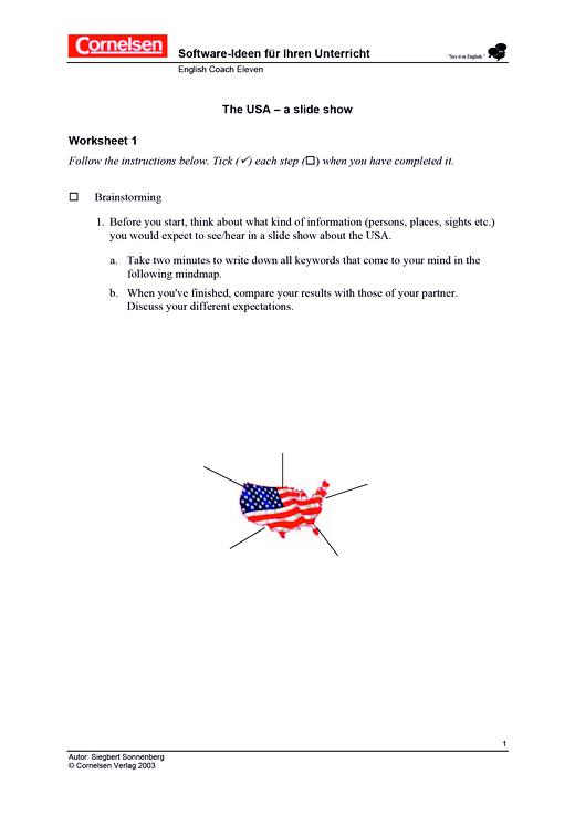 """Arbeitsblätter zum Themenbereich """"USA"""" - Arbeitsblatt - Webshop-Download"""