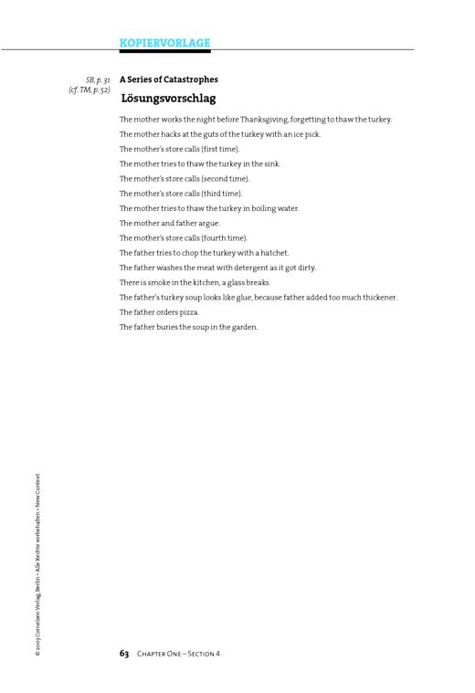 """Chapter 01: Lösungsvorschlag zu """"A Series of Catastrophes"""" - Arbeitsblatt - Webshop-Download"""