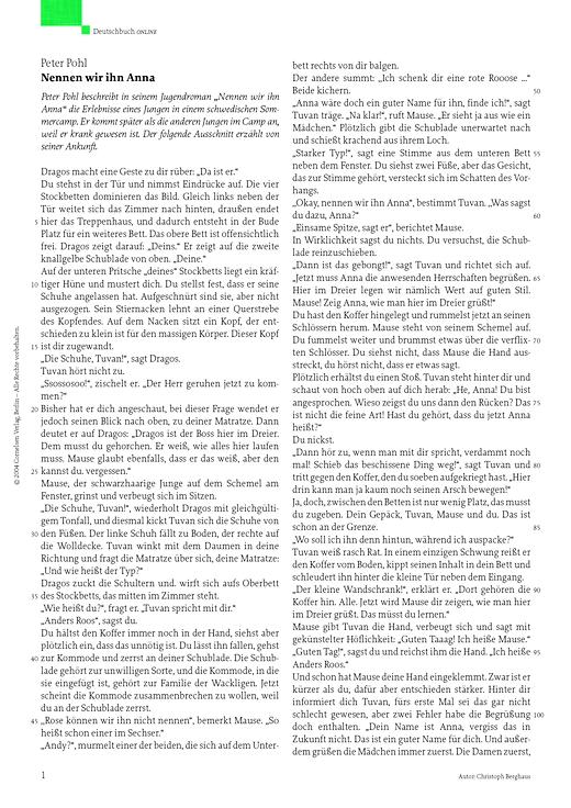 """Interpretation einer Erzählung: Peter Pohl, """"Nennen wir ihn Anna"""" - Leistungsmessung, Test, Prüfung - zu Lehrwerken - Webshop-Download"""