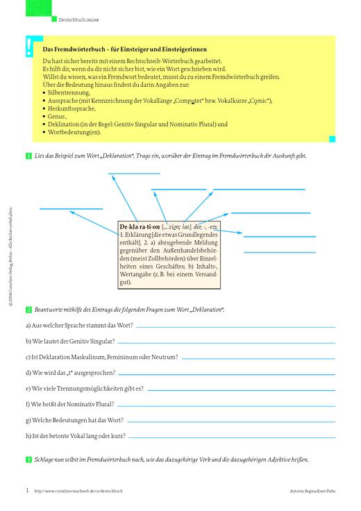 Fremdwörterbuch benutzen - Arbeitsblatt - Webshop-Download