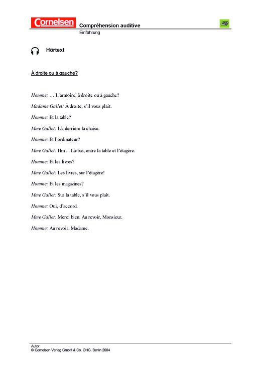 À plus ! - Unité 2 - Klassenarbeit 2, Transkription des Hörtextes - Leistungsmessung, Test, Prüfung
