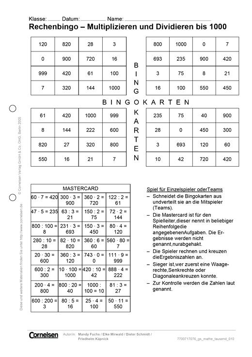 Rechenbingo – Multiplizieren und Dividieren bis 1000 - Spiel