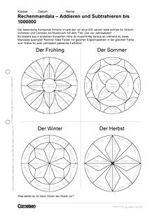 Rechenmandala – Addieren und Subtrahieren bis 1000000 - Arbeitsblatt