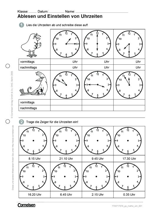 Ablesen und Einstellen von Uhrzeiten - Arbeitsblatt