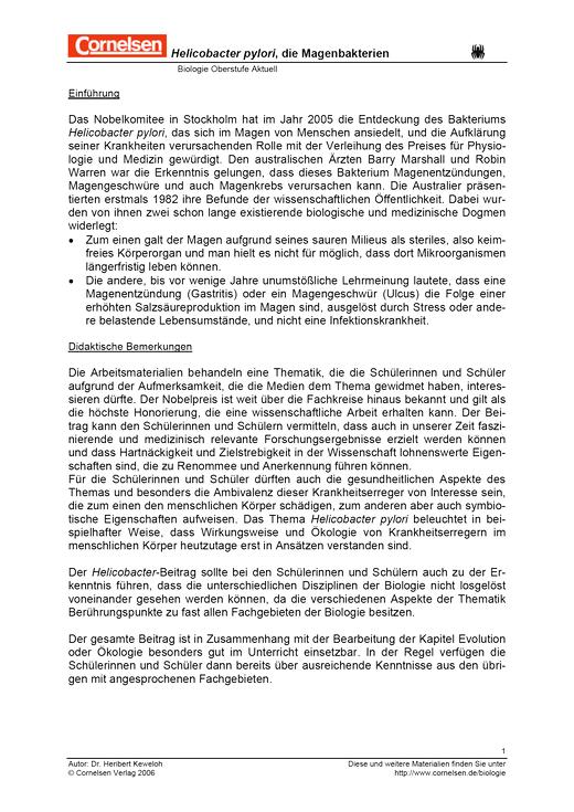 Biologie Oberstufe - Bisherige Ausgabe - Helicobacter pylori, die Magenbakterien - Arbeitsblatt