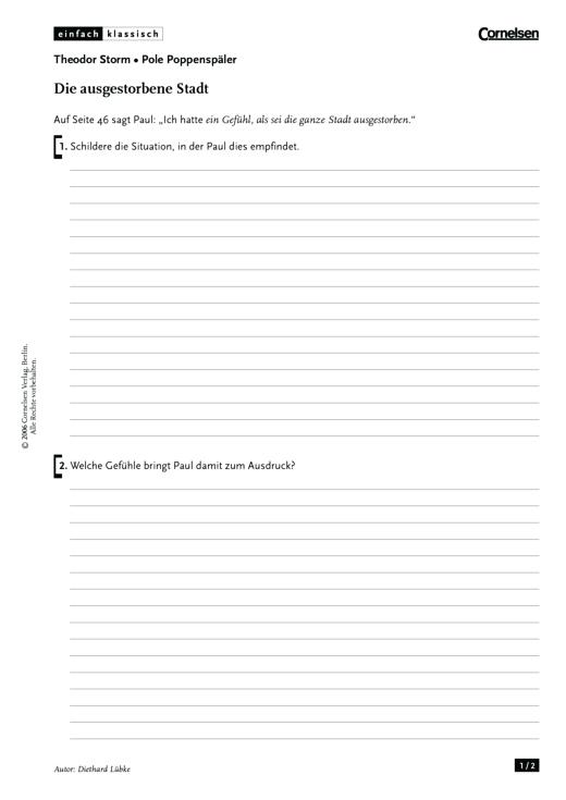 Einfach klassisch - Einfach klassisch: Pole Poppenspäler - Die ausgestorbene Stadt - Arbeitsblatt - Webshop-Download