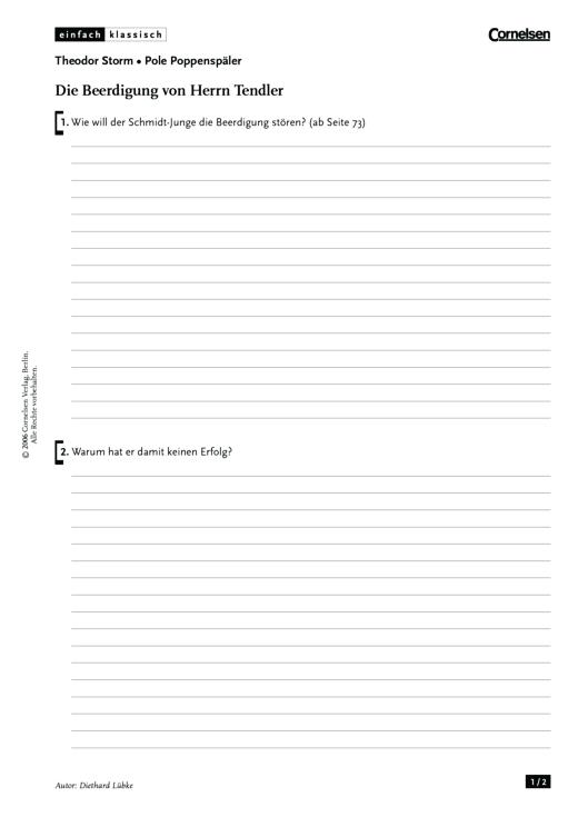 Einfach klassisch - Einfach klassisch: Pole Poppenspäler - Die Beerdigung von Herrn Tendler - Arbeitsblatt